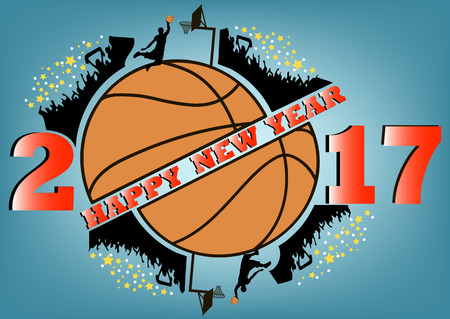 annual ring annual ring: happy new year 2017 and basketball with football fans. Vector illustration Illustration