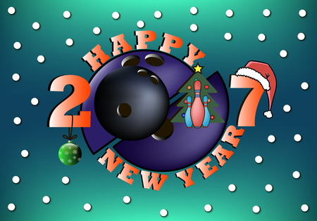 happy new year 2017 and bowling ball with Christmas tree, ball, hat and skittles. Vector illustration