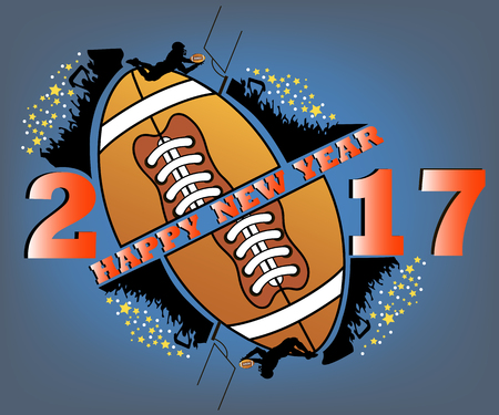 happy new year 2017 and football  with football  fans. football player jumping with the ball. Vector illustration