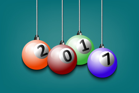 cue ball: New Year numbers 2017 and billiard ball as a Christmas decorations hanging on strings. Vector illustration