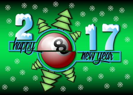 billiard ball: Happy new year 2017 and  billiard with Christmas trees. Vector illustration Illustration
