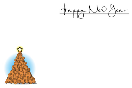 White background with Christmas tree of basketball and Happy New Year. Vector illustration