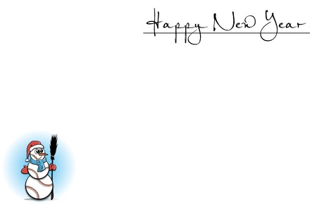 rad: White background with snowman of baseball and Happy New Year. Vector illustration