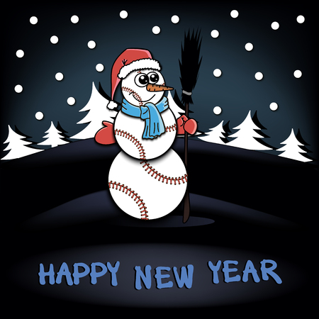 rad: Snowman of baseball on the background of the forest of Christmas trees. Happy new Year. Vector illustration