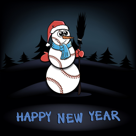 rad: Snowman of baseball on a background of the dark forest of Christmas trees. Happy new Year. Vector illustration