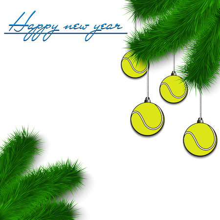 Congratulations to the New Year and tennis balls hanging on the Christmas tree branch on a white background. Vector illustration Illustration