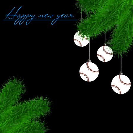 Congratulations to the New Year and baseball balls hanging on the Christmas tree branch on a black background. Vector illustration Illustration