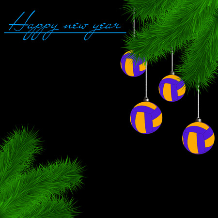 Congratulations to the New Year and volleyball balls hanging on the Christmas tree branch on a black background. Vector illustration