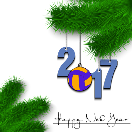 coniferous: Happy New Year and numbers 2017 and volleyball ball as a Christmas decorations hanging on a Christmas tree branch on a white background. Vector illustration