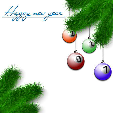 cue ball: Congratulations to the New Year and billiard balls hanging on the Christmas tree branch on a white background. Vector illustration Illustration