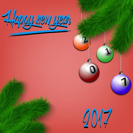 cue ball: Congratulations to the New Year and billiard balls hanging on the Christmas tree branch. Vector illustration
