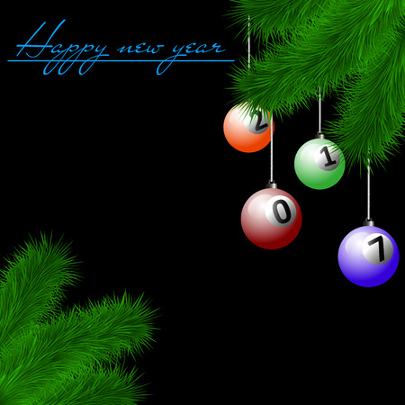 billiard ball: Congratulations to the New Year and billiard balls hanging on the Christmas tree branch on a black background. Vector illustration