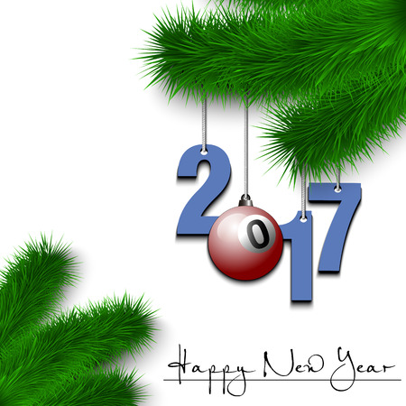 Happy New Year and numbers 2017 and billiard ball as a Christmas decorations hanging on a Christmas tree branch on a white background. Vector illustration Illustration