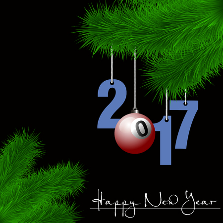 Happy New Year and numbers 2017 and billiard ball as a Christmas decorations hanging on a Christmas tree branch on a black background. Vector illustration Illustration