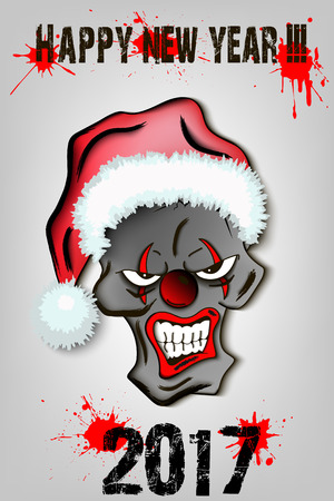 Evil clown: Happy New Year. Skull scary evil clown in Santa hat on a gray background. Vector illustration