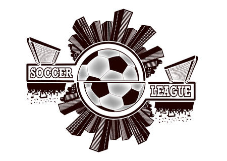 Logo soccer league with urban elements and the silhouette football atmosphere on the background of a soccer ball. Vector illustration