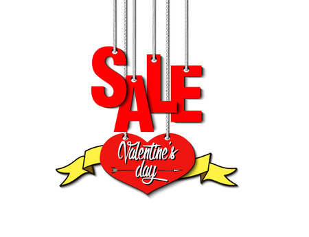 Valentines day sale. Heart with a ribbon, and lettering sale weigh on a rope, isolated on white. banner template illustration