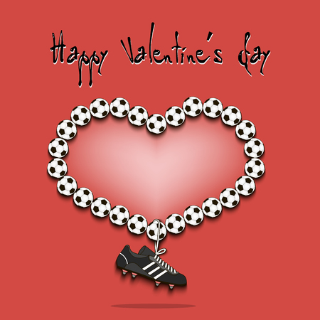 Happy Valentines Day. Heart From Baseball Balls. Vector ...