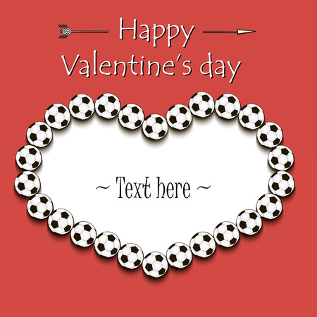 Valentines Day and Frame from soccer balls