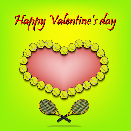 Happy Valentines Day. Heart from tennis balls and tennis rackets. Vector illustration Illustration