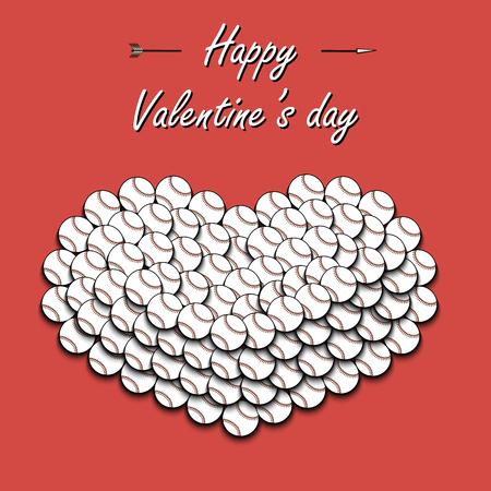 Happy Valentines Day. Heart from baseball balls. Vector illustration Illustration