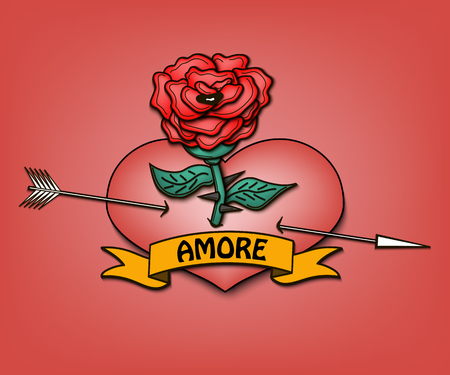 Rose with a heart pierced by an arrow. Ribbon with the inscription amore. Vector illustration