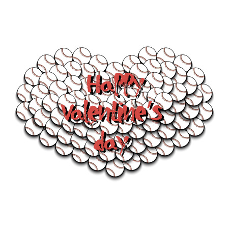 Happy Valentines Day. Heart from baseball balls. Vector illustration Illustration