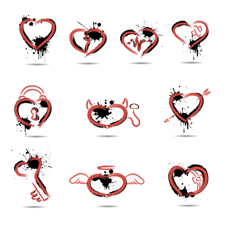 Set of abstract hearts drawn by hand on a white background.
