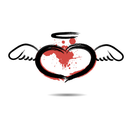 Abstract heart in the form of an angel hand-drawn with blots paint. Isolated on a white background. Vector illustration Illustration
