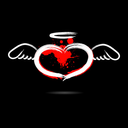 Abstract heart in the form of an angel hand-drawn with blots paint. Isolated on a black background. Vector illustration Illustration