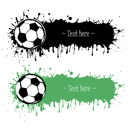 Hand drawn grunge banners with soccer ball. Black background with splashes of watercolor ink and blots. Vector illustration