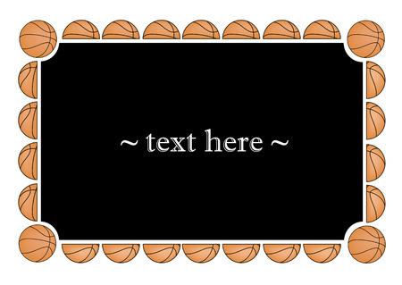 frame with basketball balls on a black background. Vector illustration