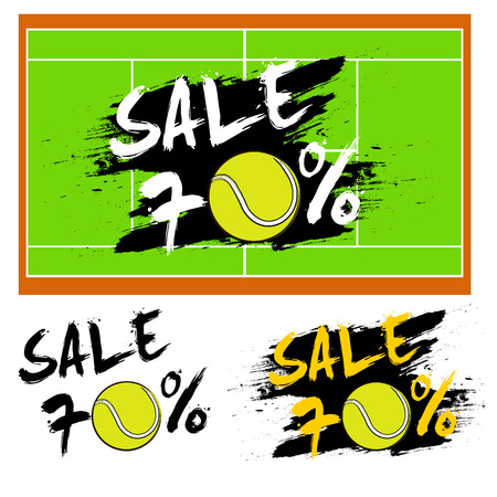 seventy: Set banners sale 70 percent with tennis ball. Drawn in a grunge style. Vector illustration Illustration