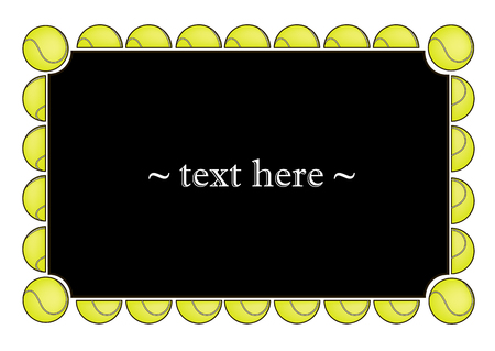 Black frame with tennis balls on a white background. Vector illustration