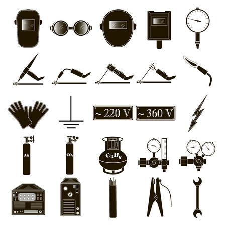 Conjunto de iconos de soldadura aislados sobre fondo blanco. Ilustración del vector