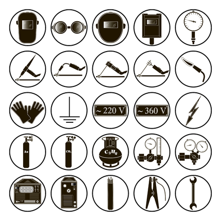 argon: Set icons of welding isolated on white background. Vector illustration