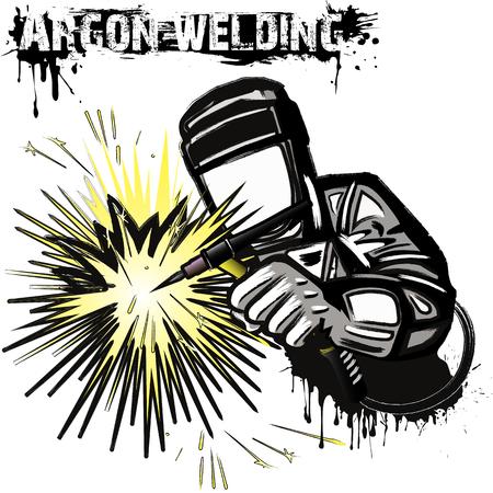 Schweißer in einer Maske, die das Argonschweißen des Metalls durchführt. Weißer Hintergrund. Vektor-Illustration Vektorgrafik