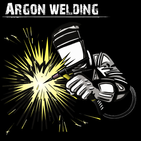 Welder in a mask performing argon welding of the metal. Black background. Vector illustration