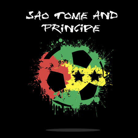 Abstract soccer ball painted in the colors of the Sao Tome and Principe flag. Vector illustration Illustration