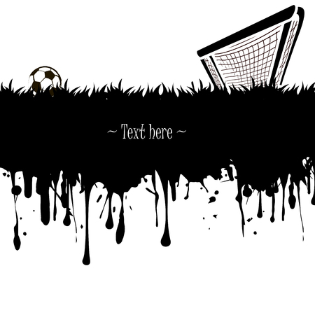 soccer field: Grunge banner from splashes of watercolor ink and blots with a soccer ball and gate on a white background. Vector illustration Illustration