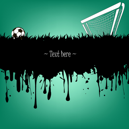 soccer field: Grunge banner from splashes of watercolor ink and blots with a soccer ball and gate on a green background. Vector illustration