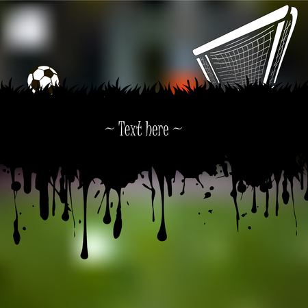 Grunge banner from splashes of watercolor ink and blots with a soccer ball and gate on a blurred background. Vector illustration