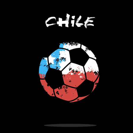 Abstract soccer ball painted in the colors of the Chile flag. Vector illustration