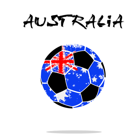 Abstract soccer ball painted in the colors of the Australia flag. Vector illustration Illustration