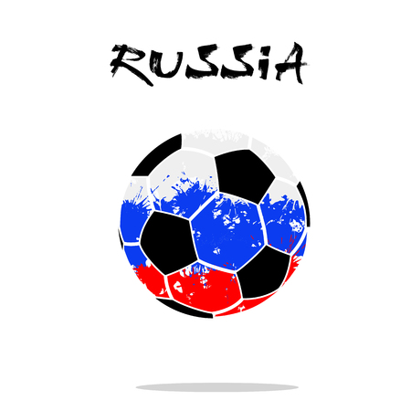 Abstract soccer ball painted in the colors of the Russia flag. Vector illustration