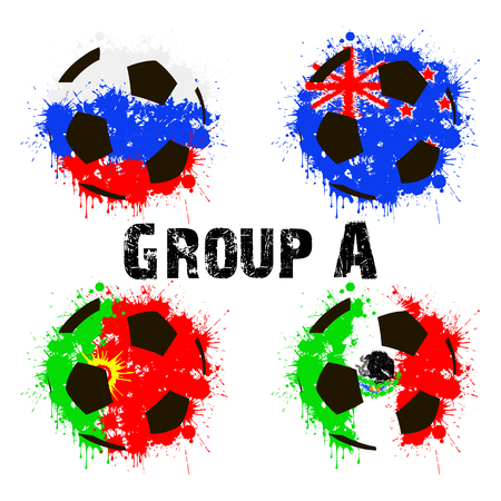Football tournament 2017. Flags of the countries participant in the form of abstract balls. Group A. Vector illustration Illustration