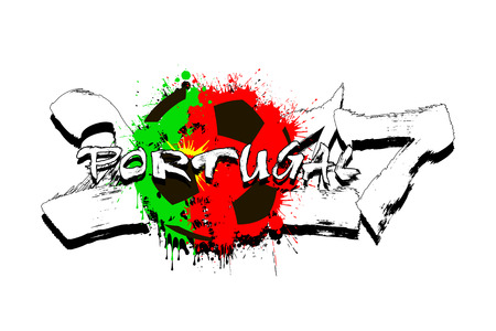 Grunge number 2017 and abstract soccer ball painted in the colors of the Portugal flag. Vector illustration