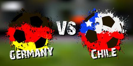 Partido de fútbol de la bandera Alemania contra Chile. Ilustración vectorial