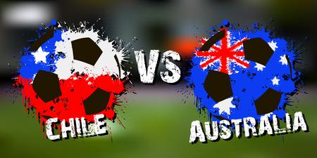 Banner football match Chile vs Australia.  Vector illustration