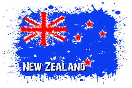 Bandiera della Nuova Zelanda da macchie di vernice in stile grunge. Illustrazione vettoriale Archivio Fotografico - 78824021